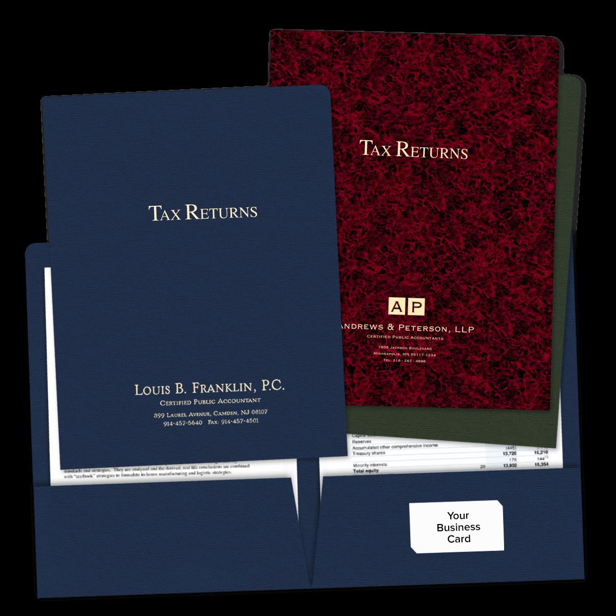 Foil Stamped Tax Return Folders Mines Press