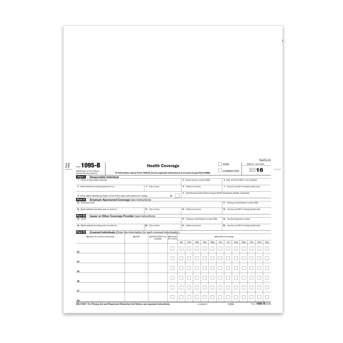 Form 1095B - Health Coverage