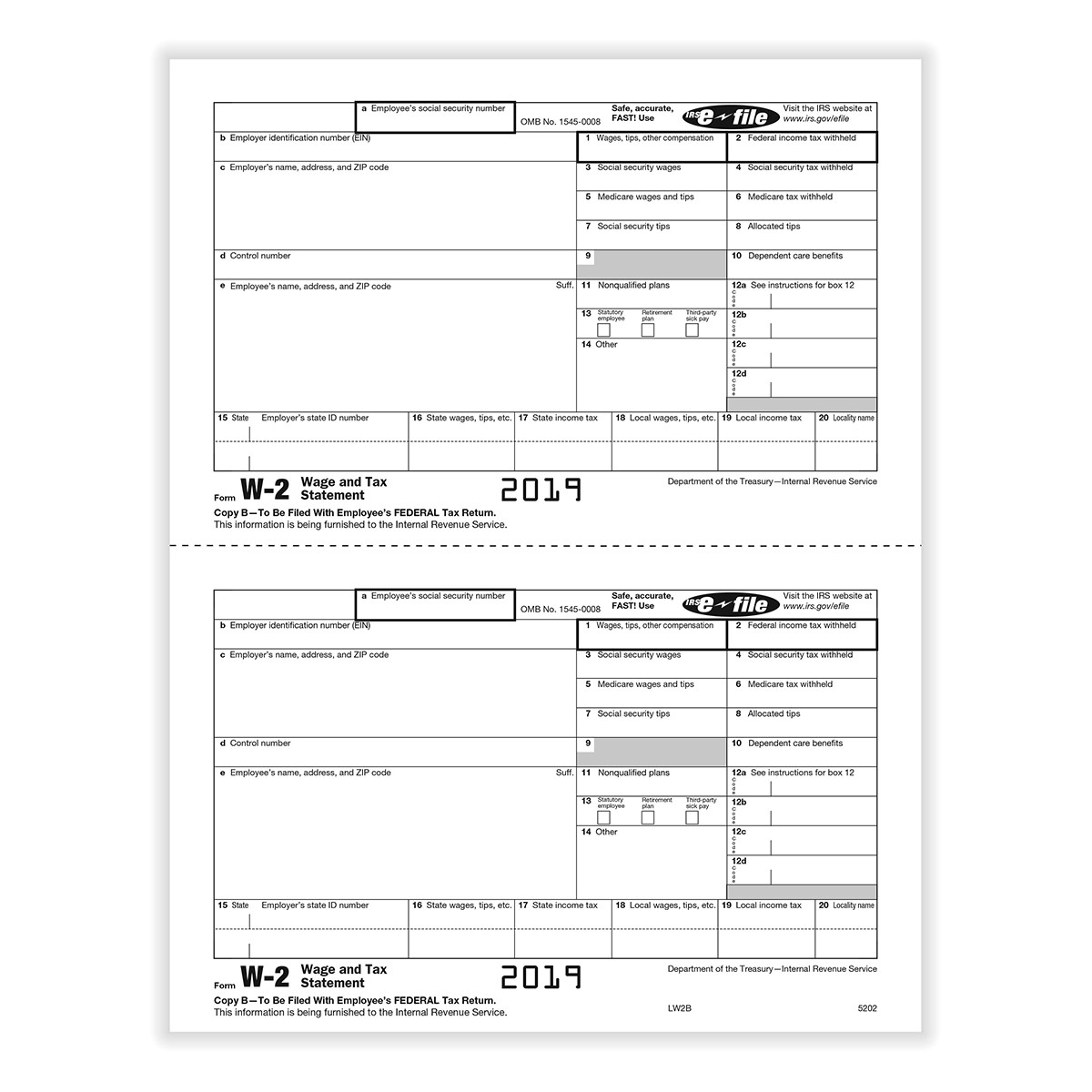 Form W-2 Copy B - Employee Federal IRS 5202