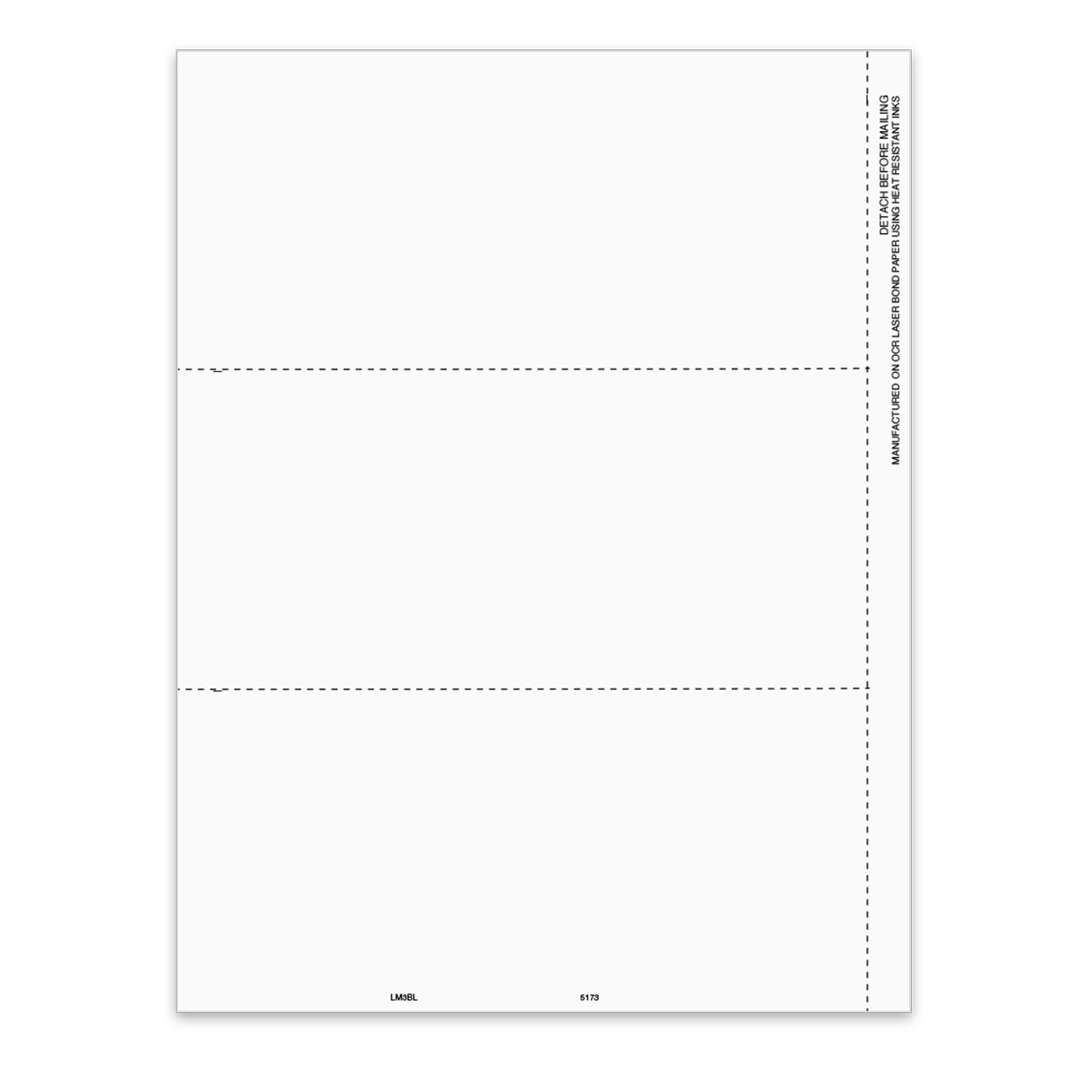 Blank 1099-MISC Form 3-Up Perf - 5173