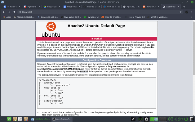 Installed Apache on Bodhi Linux