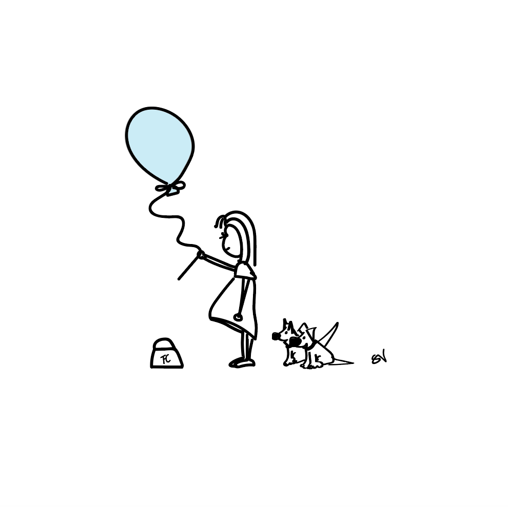 Girl with balloon and dog by Mrs V