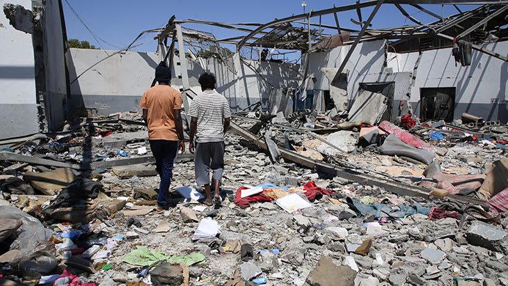 Tajoura-interneringssenter i Libya, etter luftangrepet 3. juli 2019.