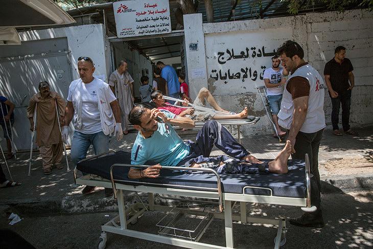 Skuddskadet pasient. Gaza, Palestina. Juni 2018.