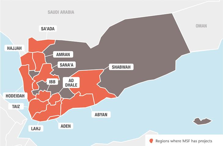 Kart over Leger Uten Grensers prosjekter i Jemen i 2017