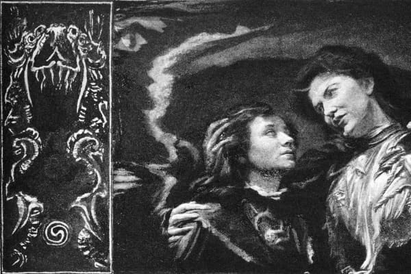 Title illustration, by John La Farge, for The Turn of the Screw in Collier's Weekly (January 27 – April 16, 1898)