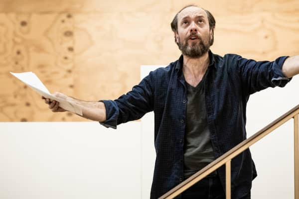 Steve Mouzakis rehearses to play John D'Agata, a writer who questions the validity of fact checking, in The Lifespan of a Fact. Photo: Charlie Kinross