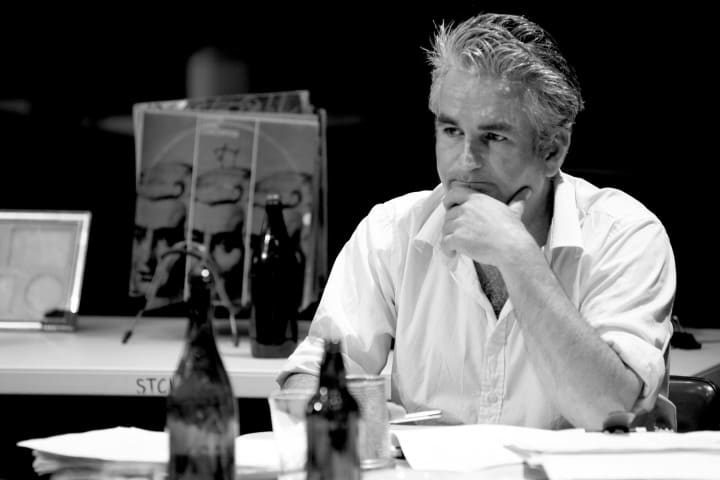 Aidan Fennessy in rehearsals for National Interest by Gary Marsh