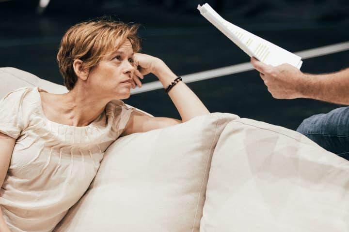 Nadine Garner in rehearsal for Emerald City. Photo: Charlie Kinross