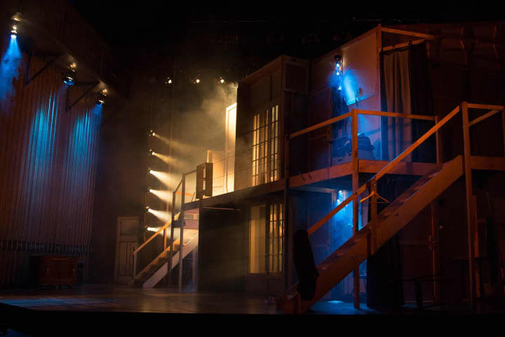 The set on the revolve in Noises Off, 2017. Photo: Rob Maccoll