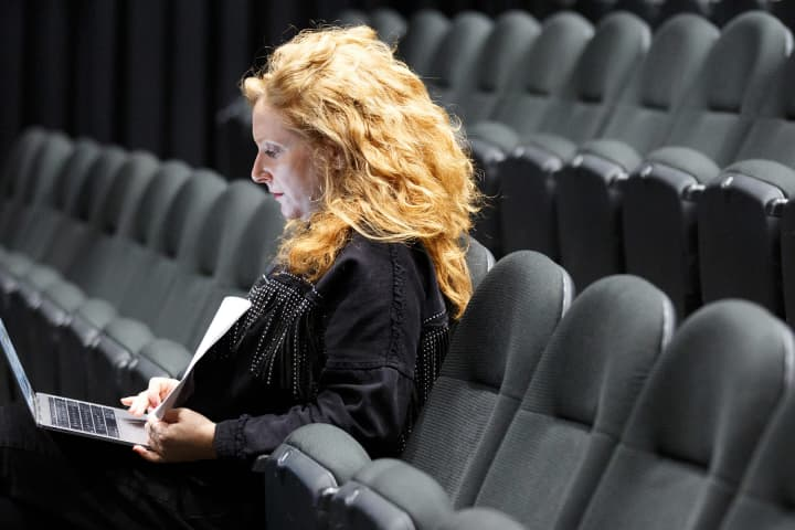 NEXT STAGE commission Elise Esther Hearst writing in Southbank Theatre's Lawler Studio. Photo:James Henry
