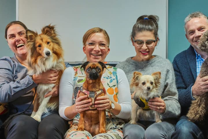 A pre-pandemic portrait of MTC pooches and their people. Photo: Tim Grey, 2019