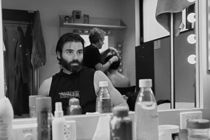 Adam-Jon Fiorentino in the dressing room during Kiss of the Spider Woman. Photo: Lachlan Woods