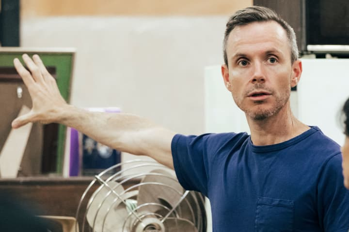 Dean Bryant in rehearsals for Torch the Place. Photo: Charlie Kinross