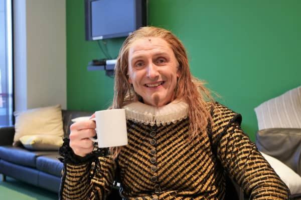 Frank Woodley in the Twelfth Night green room.