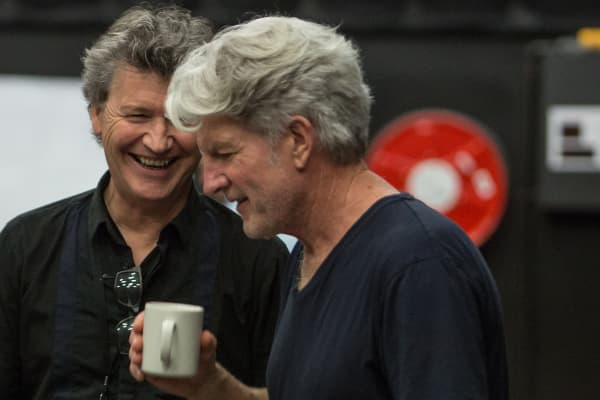 Simon Phillips and Tim Finn during rehearsals on Ladies in Black. Photo: Stephen Henry
