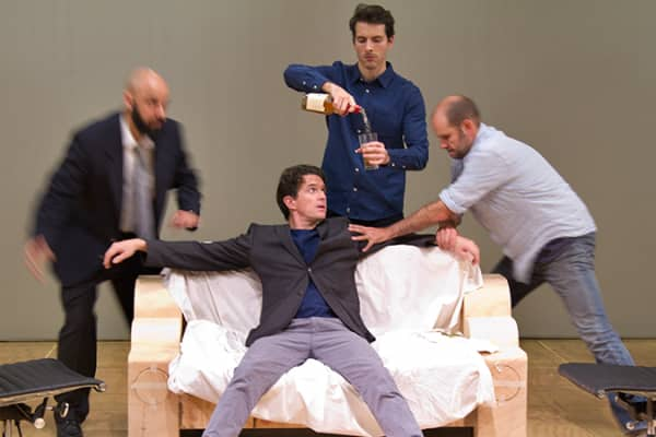 Justin Stewart Cotta, Matt Day, Lachlan Woods and Ian Bliss in rehearsal.