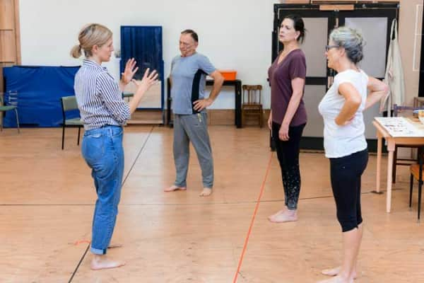 Sarah Goodes, William Zappa, Pamela Rabe and Sarah Peirse in rehearsal for The Children