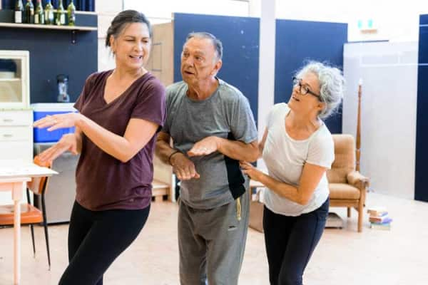 Pamela Rabe, William Zappa and Sarah Peirse in rehearsal for The Children