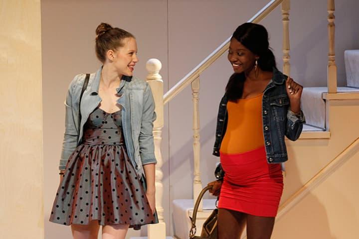 Tariro Mavondo on stage with Brenna Harding in Jumpy