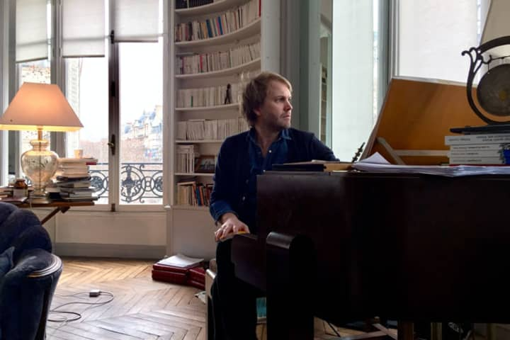 Florian Zeller in his study, Paris, 2017. (Photo: Carl Nilsson-Polias)