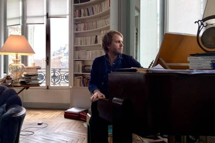 Florian Zeller in his study, Paris, 2017. (Photo: Carl Nilsson-Polias)