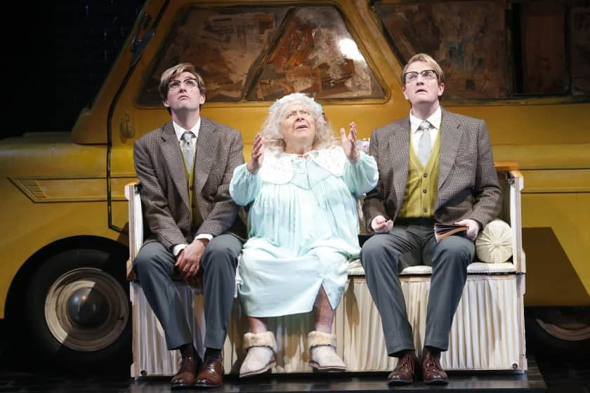 James Millar, Miriam Margolyes and Daniel Frederiksen on stage in The Lady in the Van.