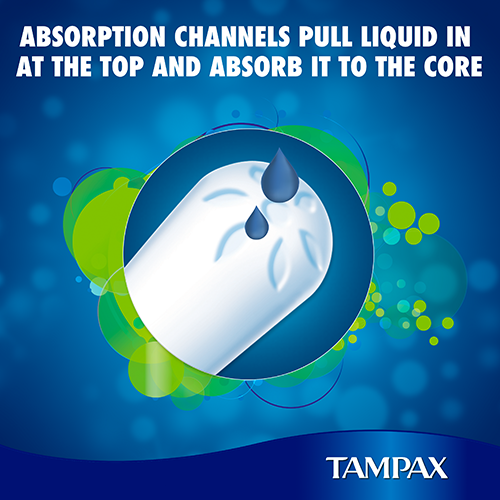 Tampax Compak Tampons come with absorbtion channels