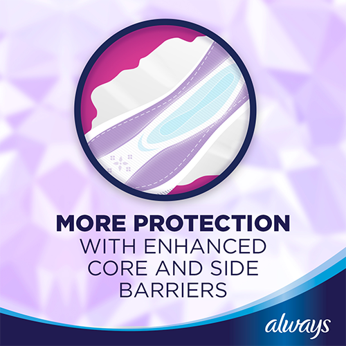 Always Platinum Ultra Thin Pads with enhanced core & side barriers