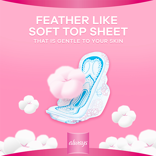 Always Cotton Soft Pads come with feather like topsheet