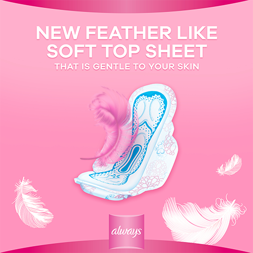 Always 2 in 1 Feather Soft Pads have feather like soft topsheet