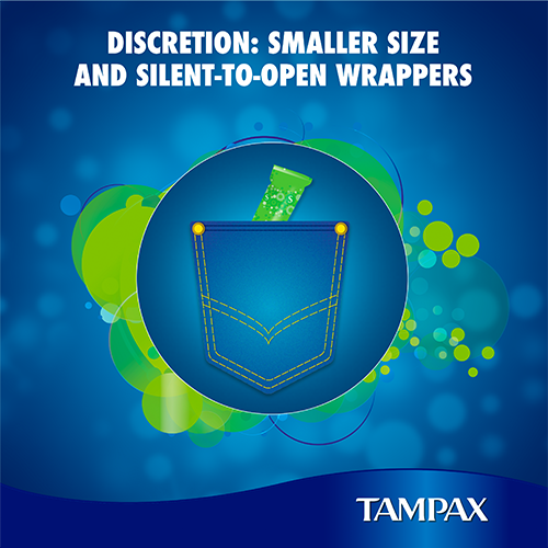 Tampax Compak Tampons with silent-to-open wrappers