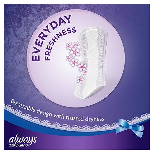 Always Extra Protect Panty Liners with breathable design