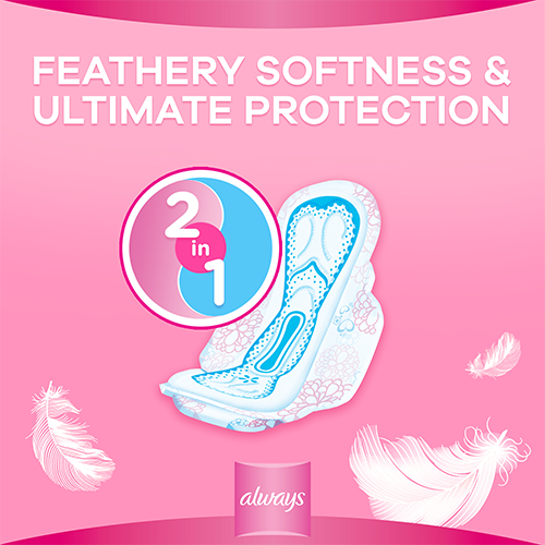 Always 2 in 1 Feather Soft Pads with feathery softness