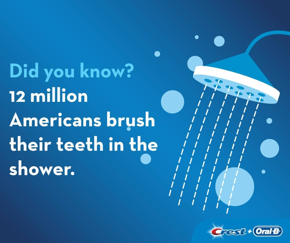 Did you know? 12 million Americans brush their teeth in the shower