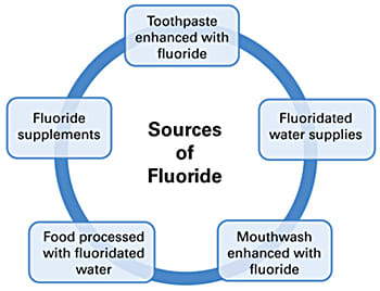 Image: Fluoride sources: There are several common environmental sources of fluoride, including fluoridated drinking water and oral health care products.