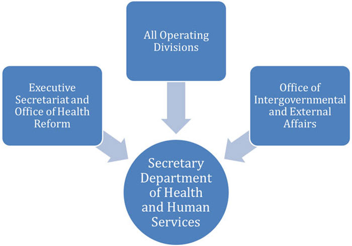 Chart organizing Department of Health and Human Services.