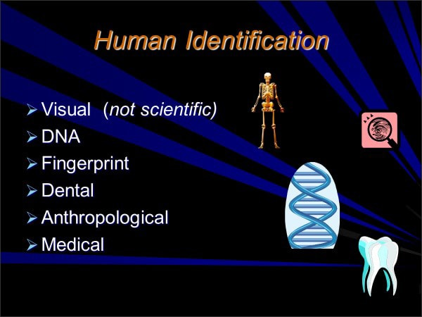 Human Identification: Visual (not scientific), DNA, Fingerprint, Dental, Anthropological, Medical
