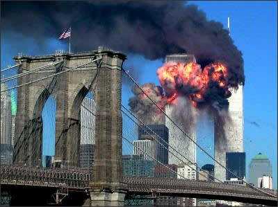 Photo showing the bombing of the World Trade Center in New York