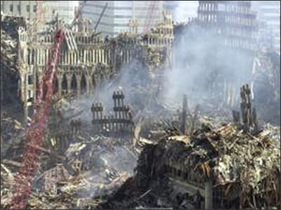 Aerial photo showing the aftermath of the World Trade Center Twin Towers collapse.