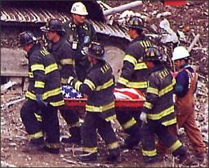 Photo showing victim recovery after World Trade Center bombing
