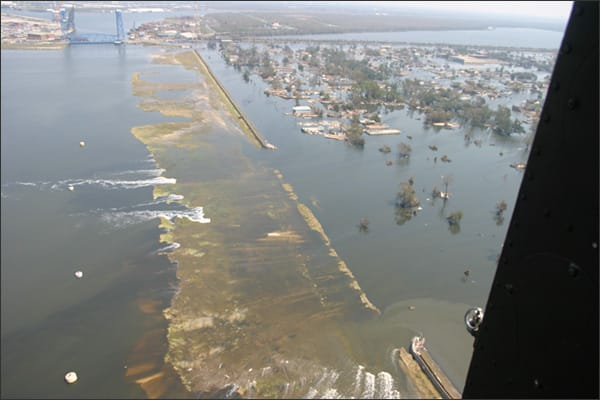 Aerial photo showing failure of levee in New Orleans after Hurricane Katrina