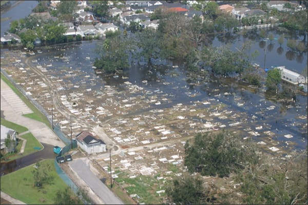 Aerial photo showing residential flodding in New Orleans after Hurricane Katrina