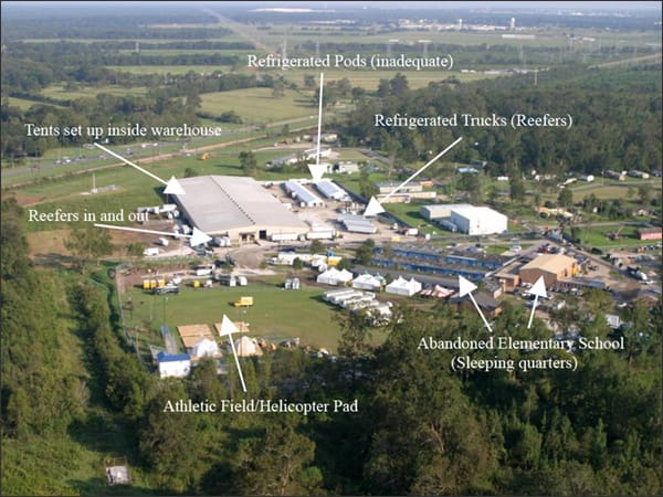 Aerial photo showing temporary Morgue and Victim Identification Center from Hurricane Katrina disaster.