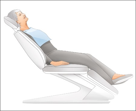 responsive patient sitting upright