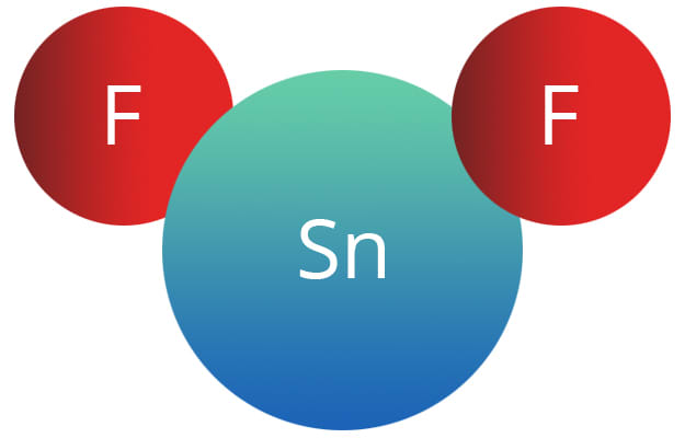 Diagram showing stannous fluoride molecule.