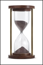 Photo of hourglass showing the passage of time.