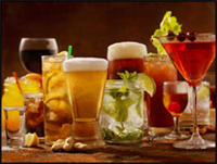 Photo of various acidic alcoholic beverages.