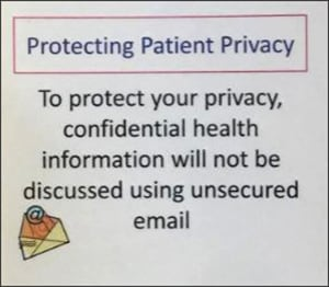 Image of HIPAA notice concerning email.