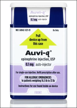 Photo showing Auvi-Q, 0.1 mg of epinephrine